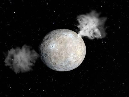 Ceres planeta nanoak ur-lurrunezko zorrotadak igortzen dituela ikusi dute astronomoek